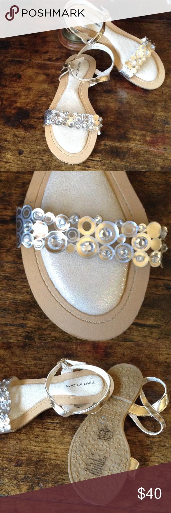 🌺SALE🌺 Stuart Weitzman Crystal Sandals New lazar cut crystal sandals. Color is champagne gold. Stuart Weitzman Shoes Sandals