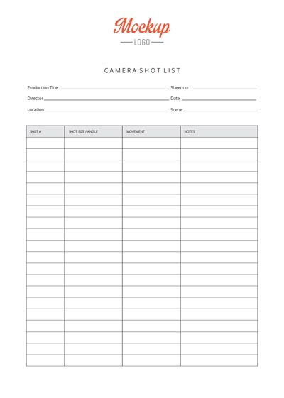 Simple Camera Shot List - Advanced xls, pdf and Google Sheet ...