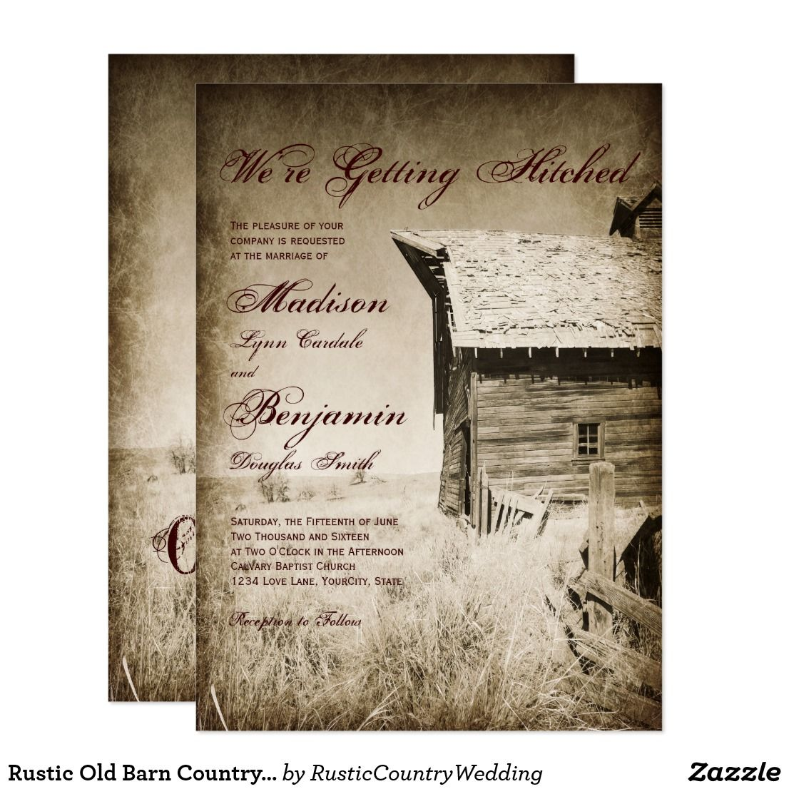 Rustic Old Barn Country Wedding Invitations | Country wedding ...