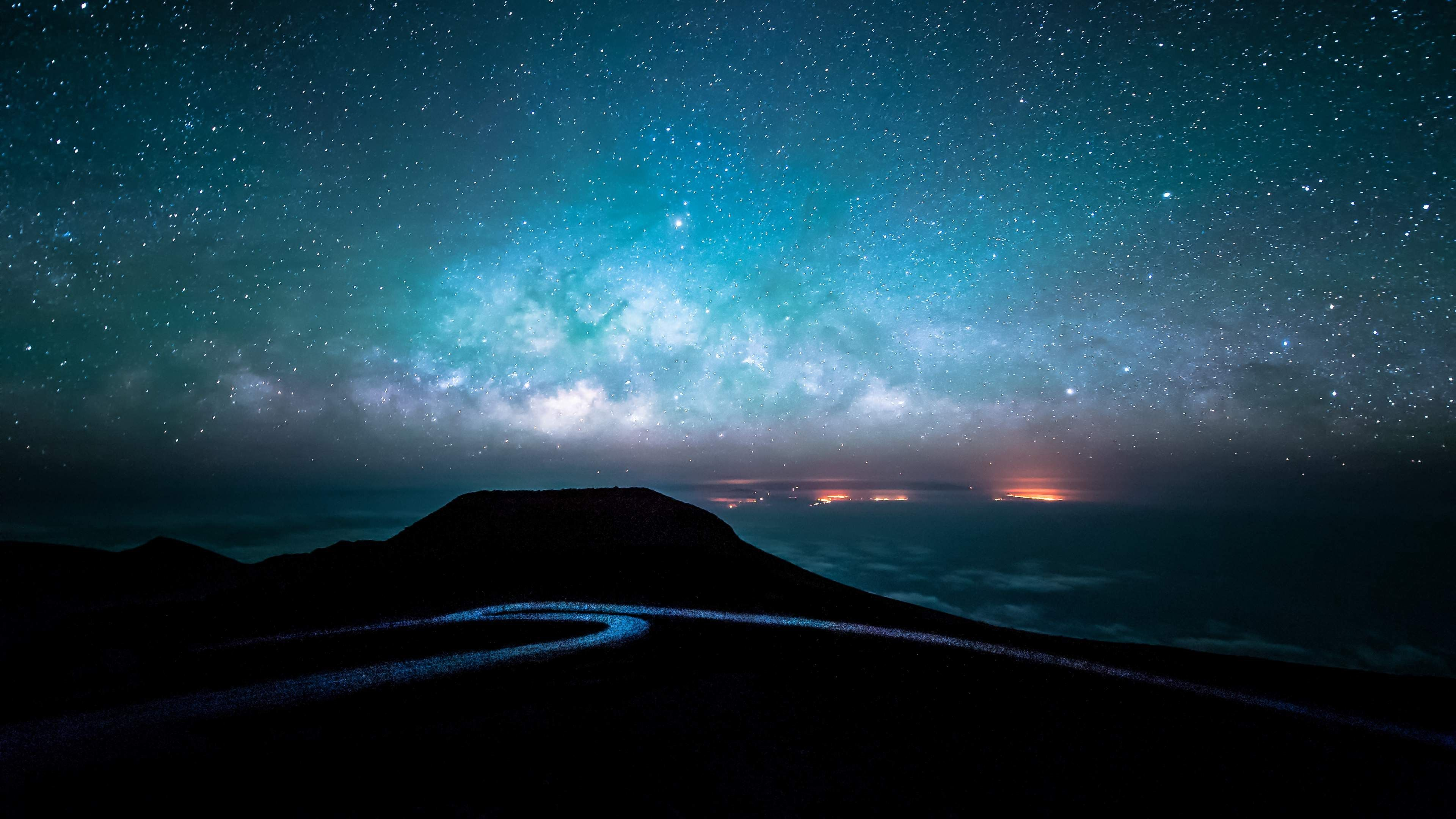 night road and starry sky 4k ultra hd wallpaper Night