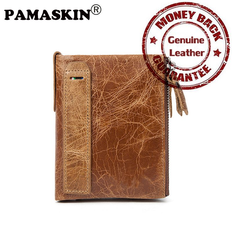 PAMASKIN Brand Designer Vintage Male Purses Cowhide 2017 New Arrivals 100% Genuine Leather Large Capacity Short Men's Wallets  #Affiliate