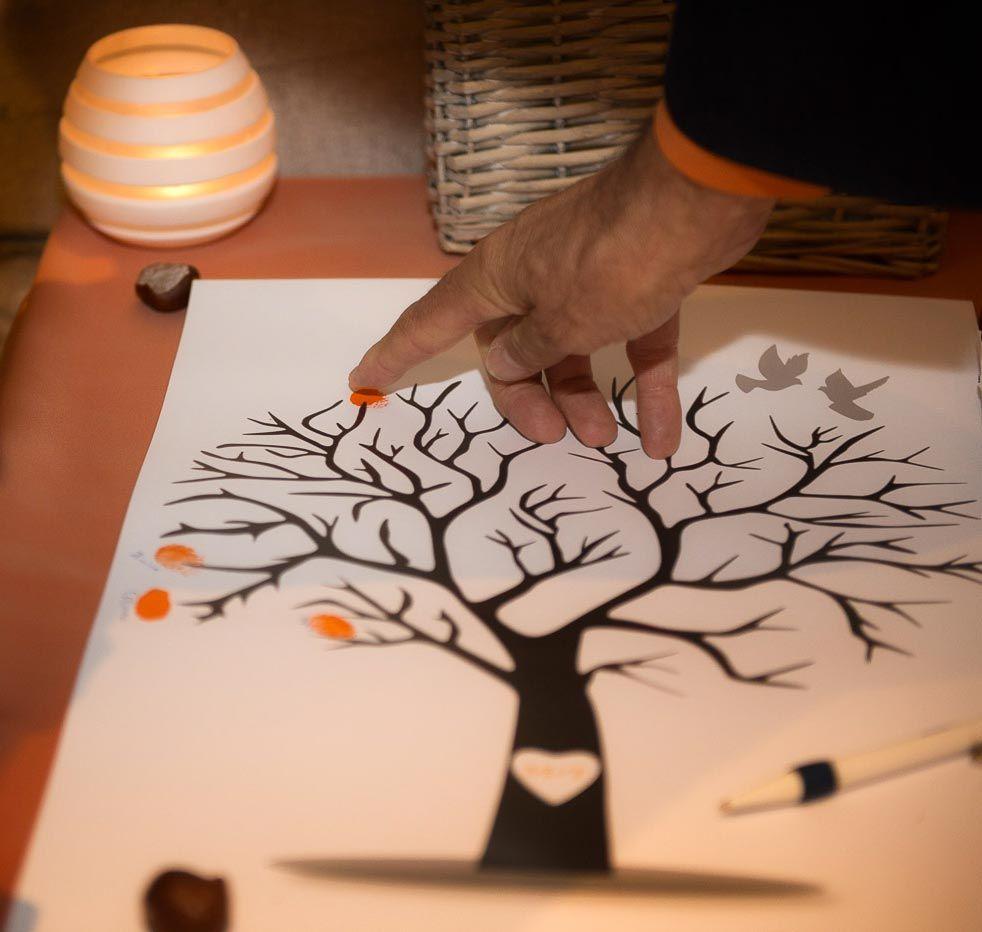 votre arbre empreintes un livre d 39 or original pour votre mariage en regardant par la. Black Bedroom Furniture Sets. Home Design Ideas