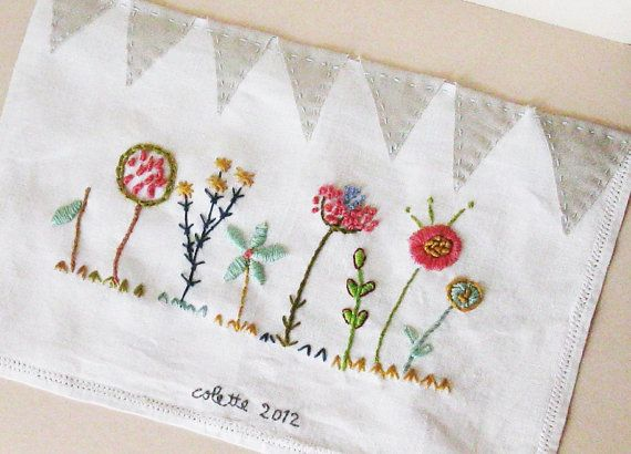 Embroidery on vintage linen small quilt  by ColetteCopeland, $55.00