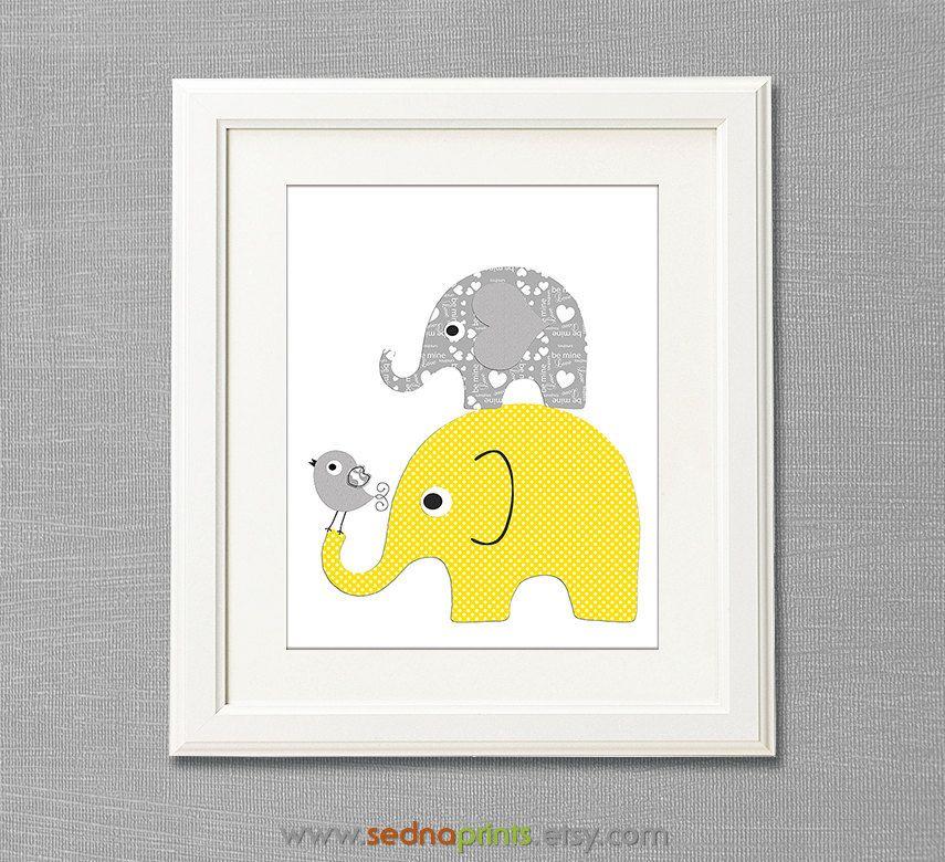Grey and yellow elephant wall art nursery Art Print by SednaPrints ...