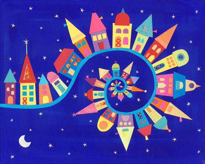Art Print - Twisty-Twirly Town - Caroline Rose Art