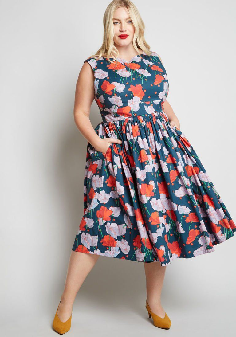 2c8a5acecc02 Fabulous Fit and Flare Dress with Pockets in XL - Sleeveless Fit & Flare  Midi by ModCloth