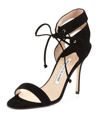 beac2bd69deb Laramod Suede Ankle-Wrap Sandal