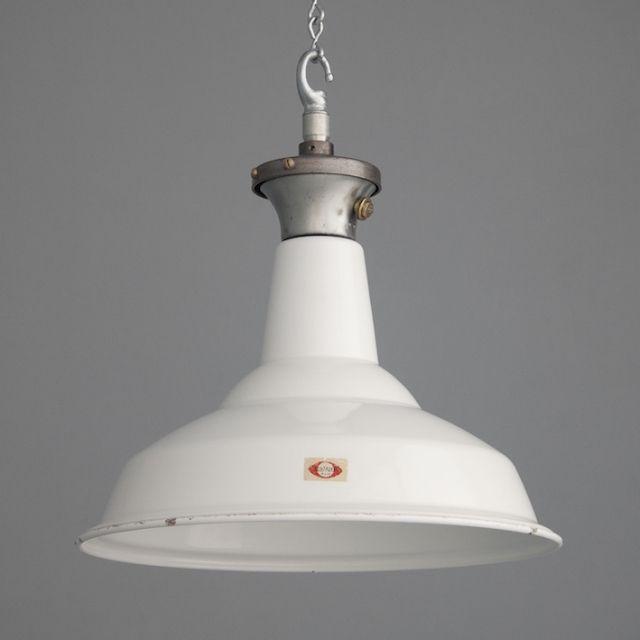 Vintage industrial pendant lighting by british manufacturer benjamin circa vitreous enamelled steel reflectors with lower