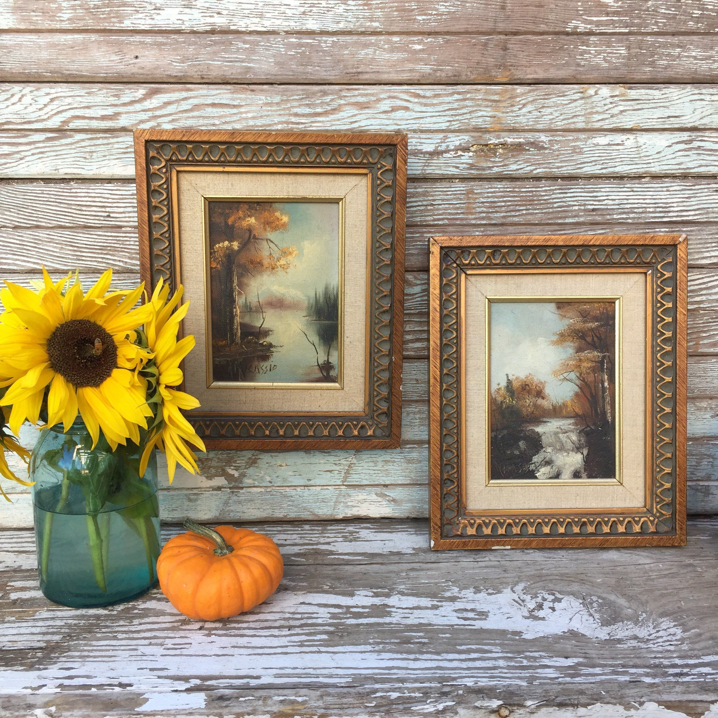 Two , vintage mid century paintings on canvas / vintage framed art / Beautiful fall scenery / Autumn on the river paintings #fallscenery