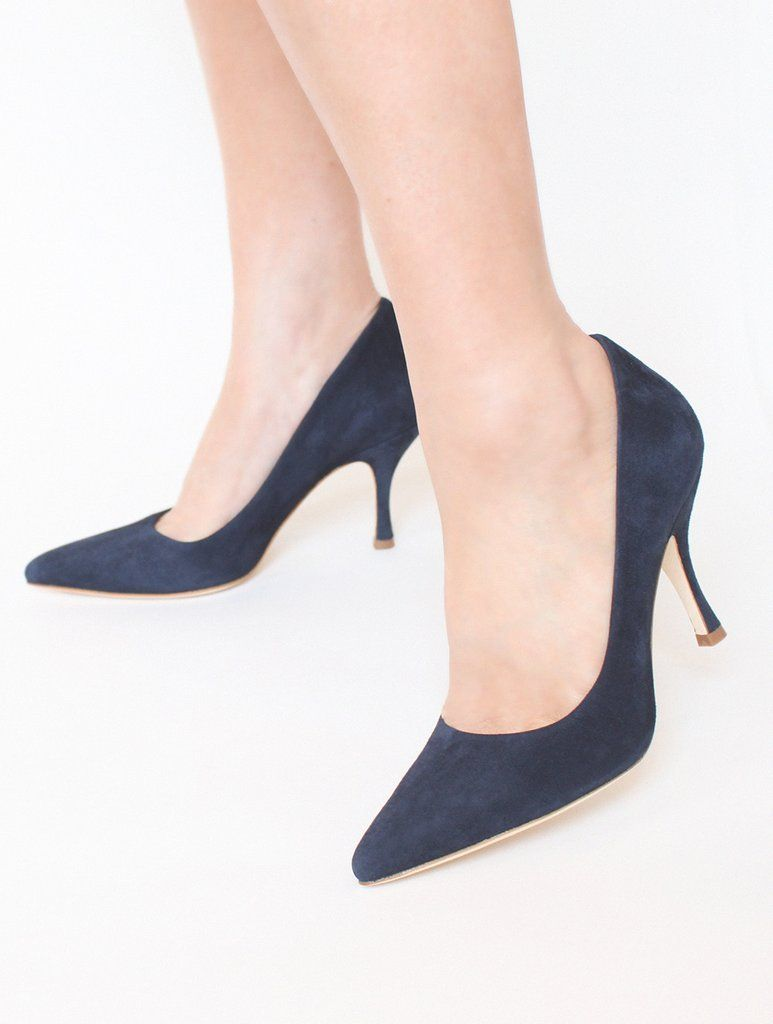 05ad6ebed Poppy Midnight - Occasion Shoe - Midnight Blue Kid Suede - Mid Heel - Court  Shoe - Emmy London