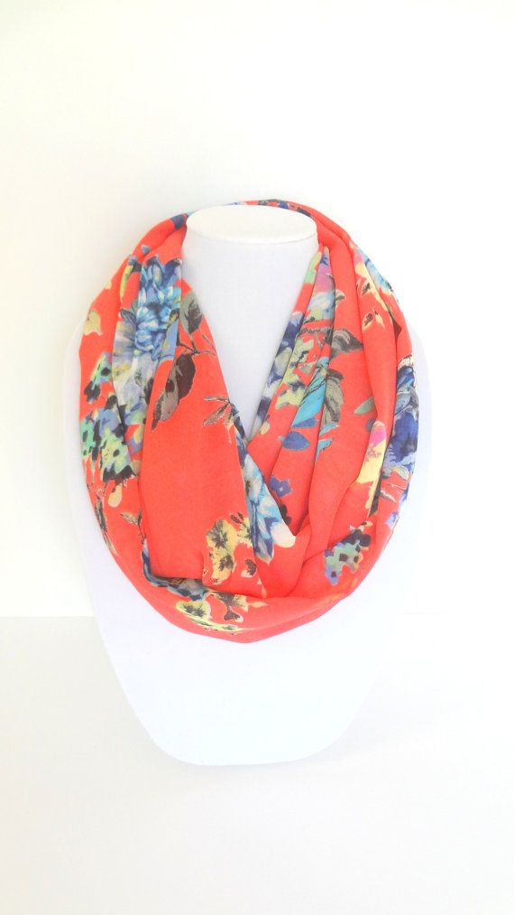 Coral Floral Scarf Spring Scarf Infinity by FashionelleStudio