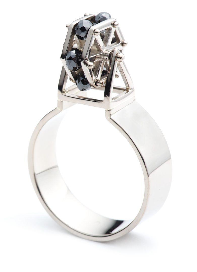 Ferris wheel ring k palladium white gold black diamonds jewelry