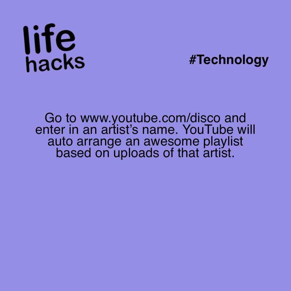 Go To Www Youtube Com Disco And Enter In An Artist S Name Youtube Will Auto Arrange An Awesome Playlist Based On U Diy Life Hacks Life Hacks Useful Life Hacks