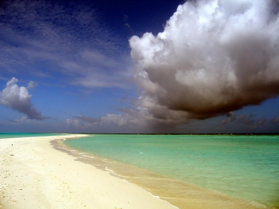 Cumulus clouds looming over the Maldives