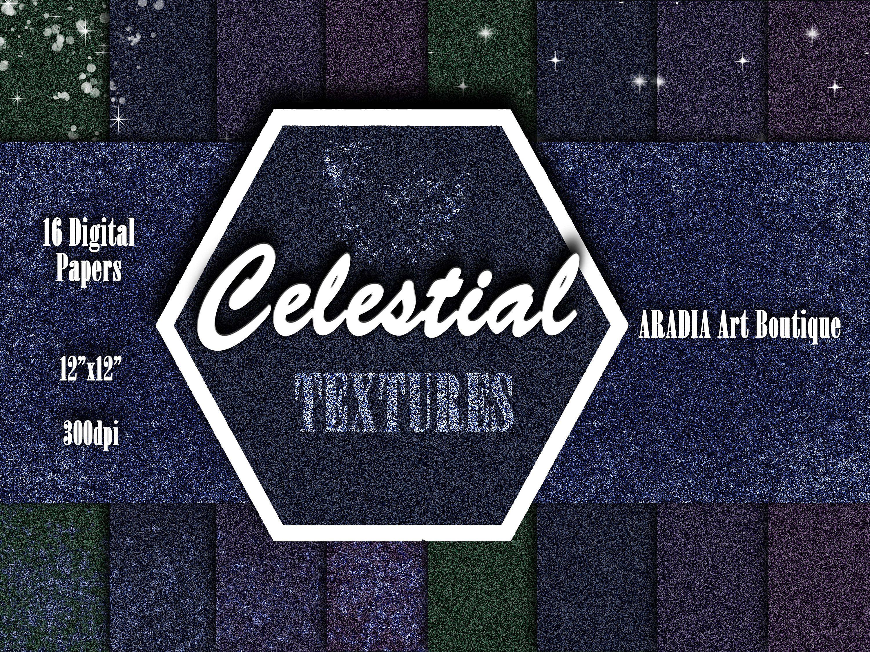 Celestial Glitter Digital Paper Pack Glitter Celestial Background