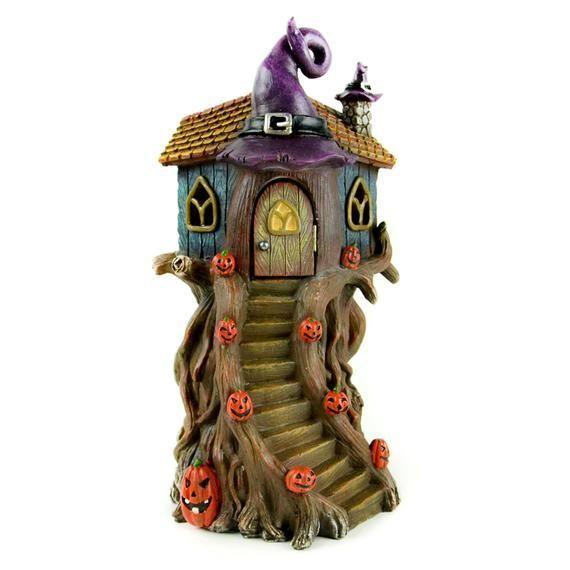 Fairy Garden House - LED Witch Hat Tree House - Miniature Fairy Garden Supply - Halloween Theme#fairy #garden #halloween #hat #house #led #miniature #supply #theme #tree #witch