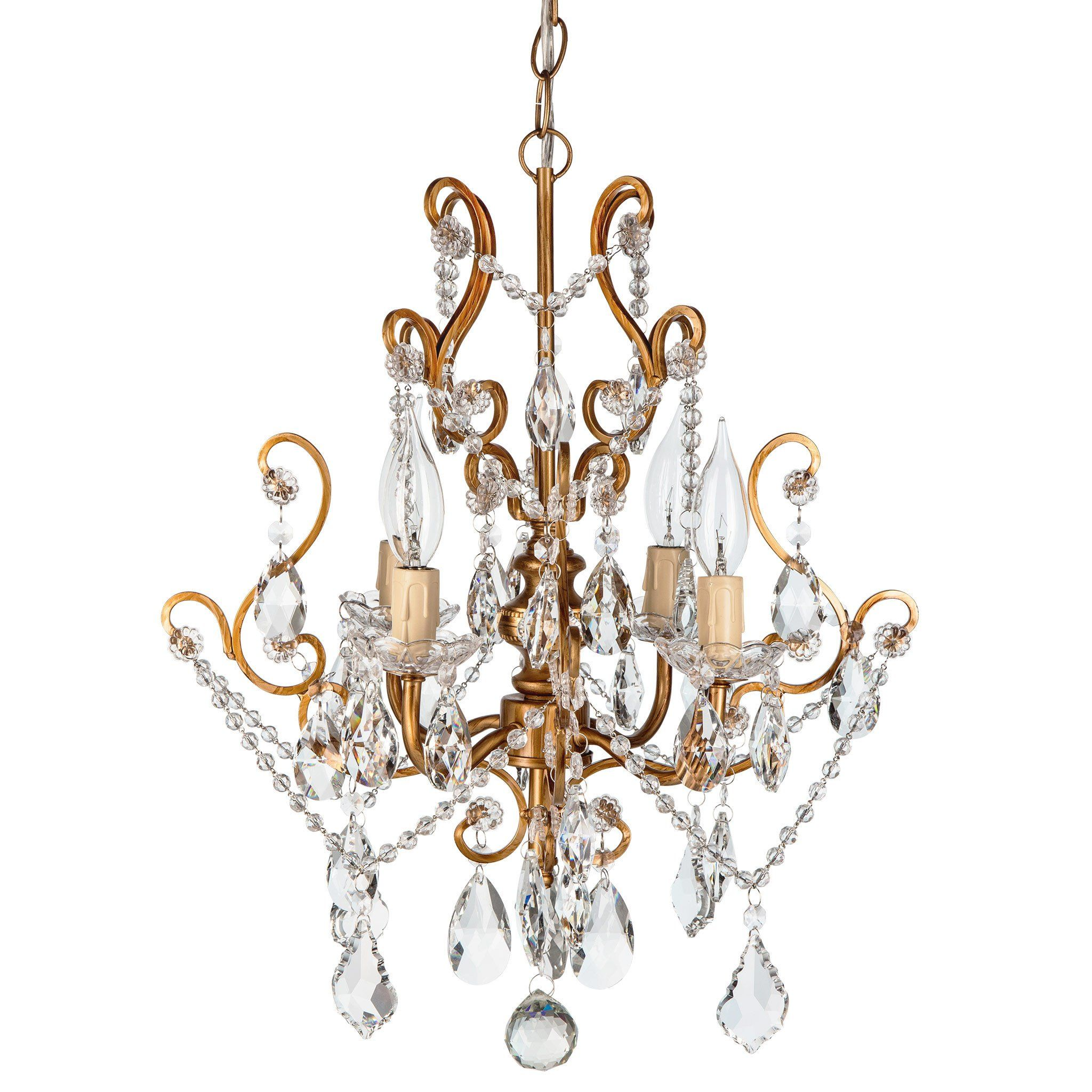 4 Light Vintage Crystal Plug In Chandelier Gold