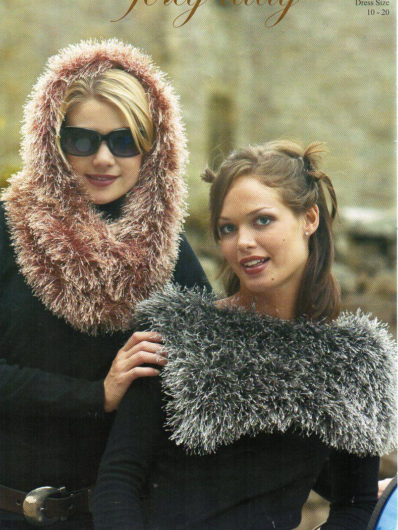 womens furry hood snood collar cowl knitting pattern pdf Eyelash ...