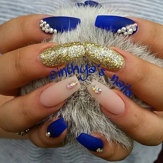 be014bda8  coffinnails  ballerinanails  gold  mattenails  blue  royal  royalblue   royale…