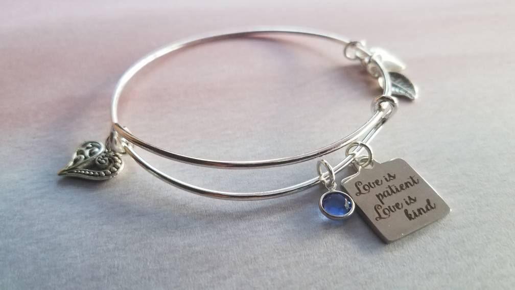 Love is Patient Bracelet - March Birthstone