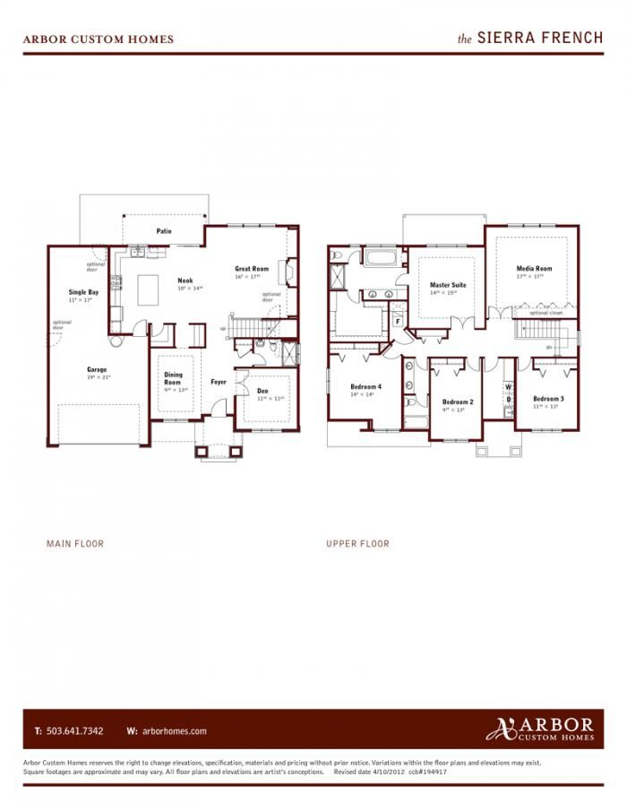 Sierra Floorplan Arbor Custom Homes Portland Or Custom Homes Floor Plans Home Builders