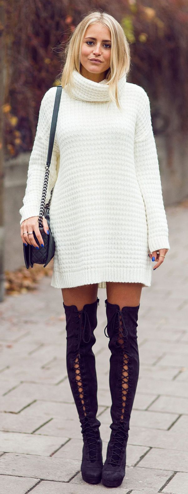 Knee High Boots With Long Sweater