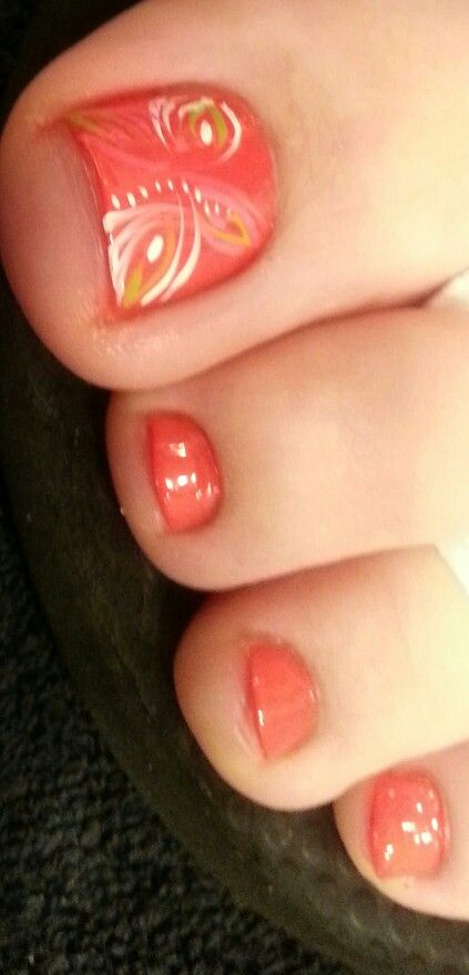 Pretty pedicure: a light coral polish with a cool design (somewhat ...