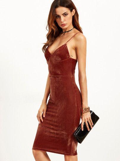 8aea94b6abf9 Vestido de tubo de terciopelo con tirantes - rojo ladrillo   Dress ...