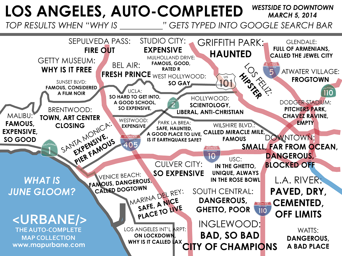 Westside Los Angeles Auto Complete Map Urbane Maps Pinterest - Los angeles map funny