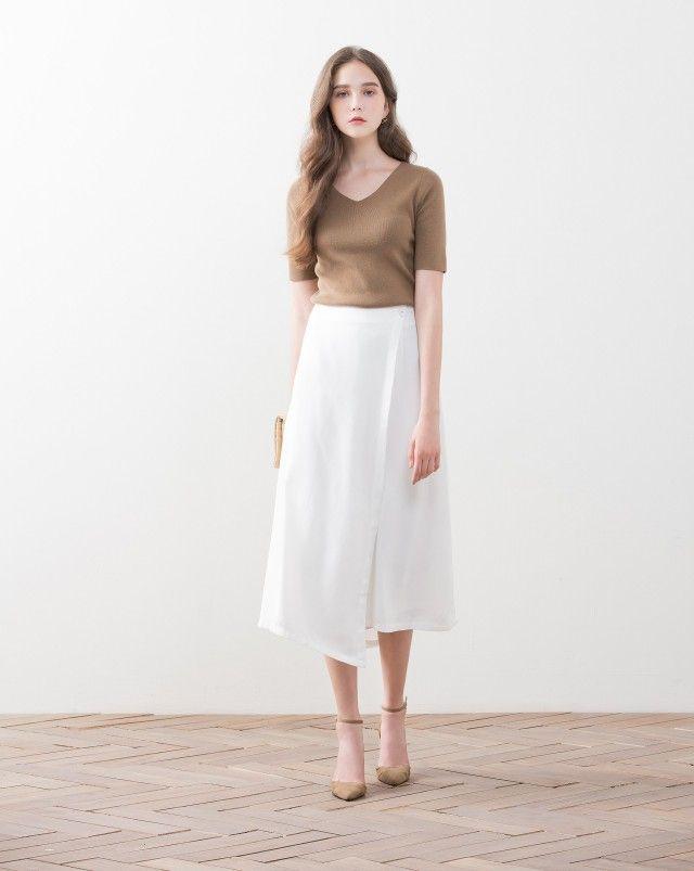 知性斜邊裝飾片設計雪紡長褲|女裝|MEIER.Q