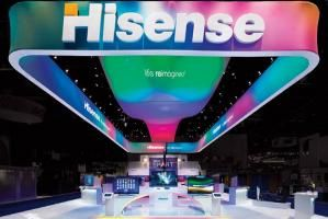 At CES 2012, MC2 used lighting to create an open, inviting atmosphere for the Hisense brand. Color-changing lights were projected onto all-white fabric structures and product displays.
