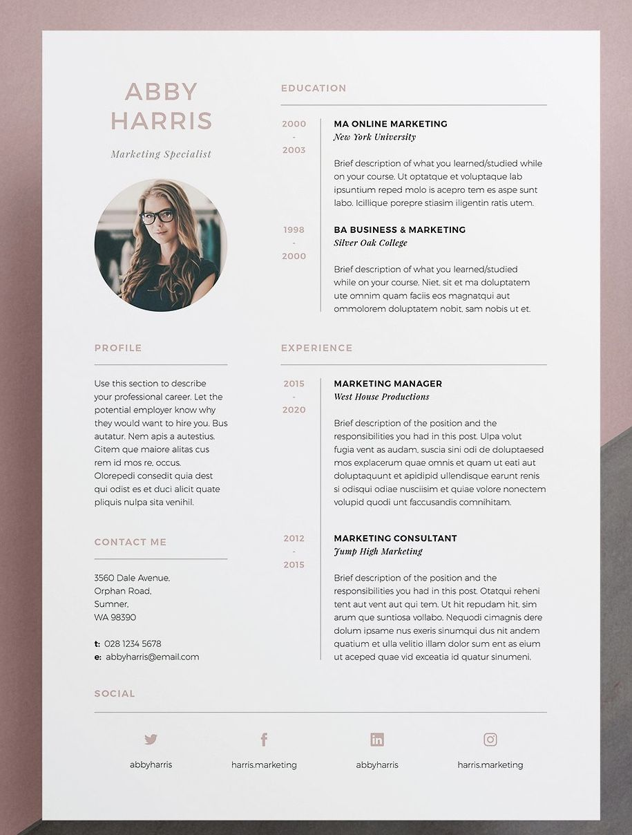 Professional Resume CV And Cover Letter Template For MS Word Photoshop InDesign