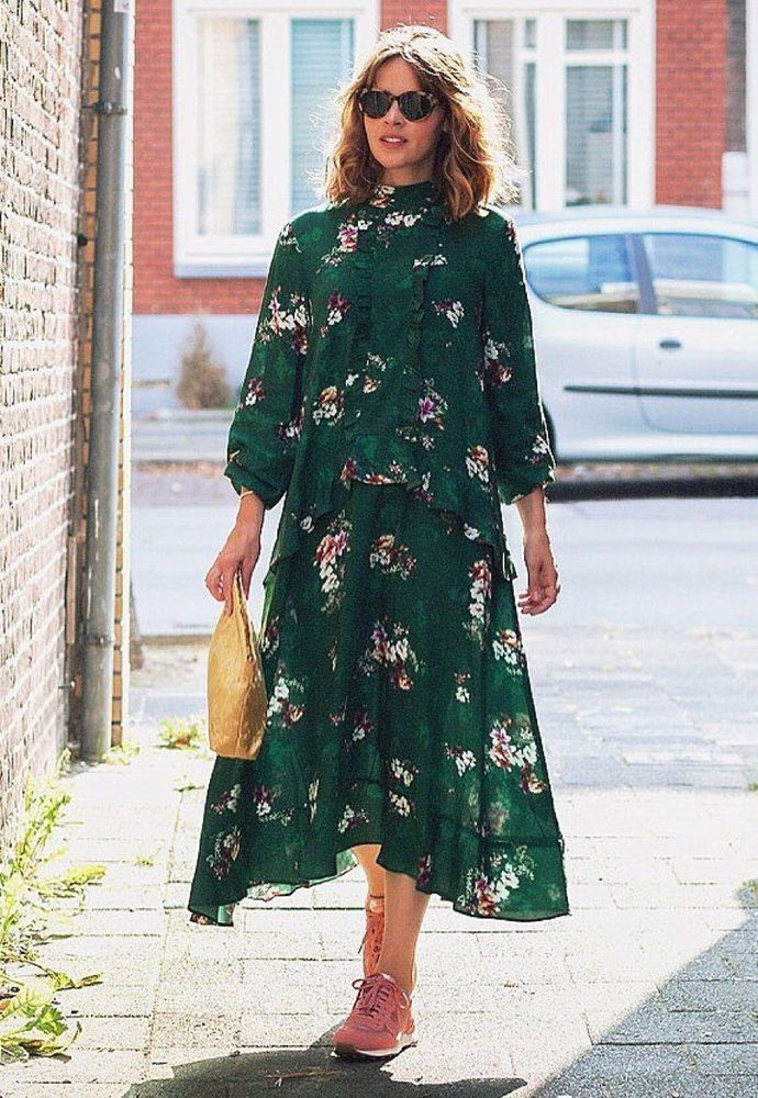 H M Trendy Green Floral Long Midi Dress Frills Us 12 Hm