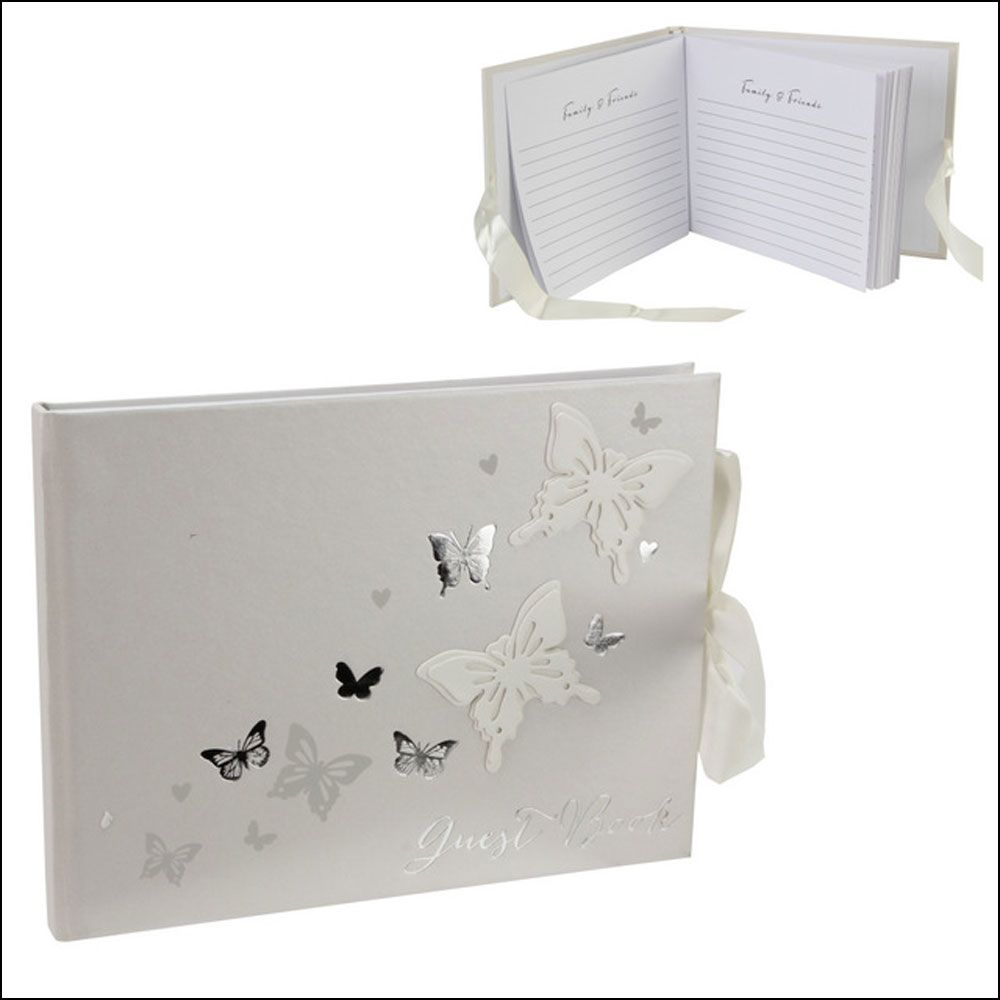 Ivory satin wedding guestbook finished with a white sash and