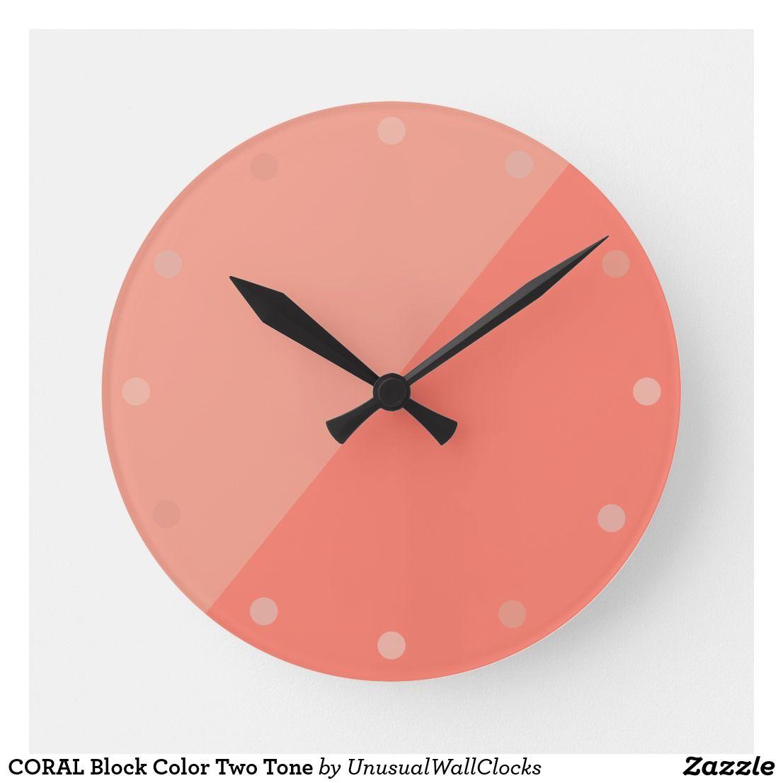 Coral Block Color Two Tone Round Clock Zazzle Com In 2020 Clock Wall Clock Blush Walls