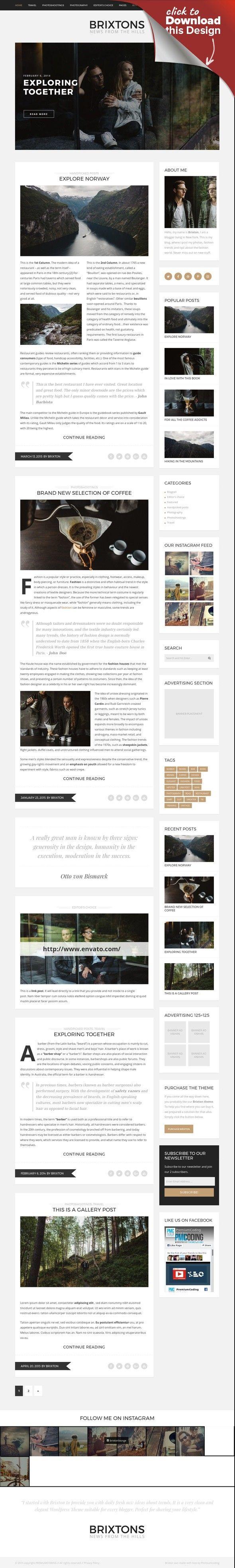 Brixton Blog - A Responsive WordPress Blog Theme | Wordpress blog ...