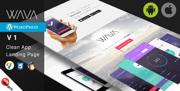WAVA - Responsive App Showcase Wordpress Theme WAVA is the perfect mobile app wordPress showcase for iPhone and Android. Built with twitter bootstrap 3.2.0 and CSS3. It has visual Composer page builder so it's very easy to customize, Wava is better way to present your startup mobile app website.