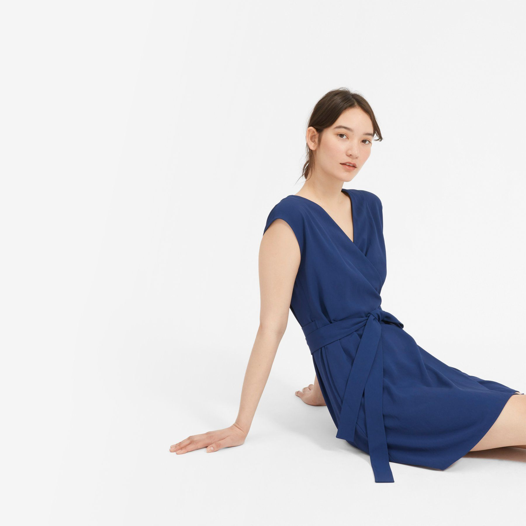 Women S Japanese Goweave Short Sleeve Mini Wrap Dress Everlane Mini Wrap Dress Royal Blue Dresses Dresses [ 1800 x 1800 Pixel ]