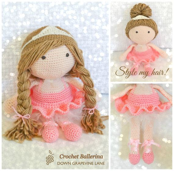 Crochet Ballerina Doll  amigurumi  customised by DownGrapevineLane, $80.00 ♡