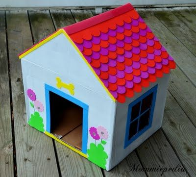 Dog House From A Recycled Box Dog House Diy Cardboard Box