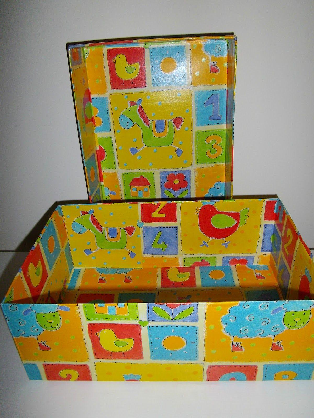 Decorated cardboard shoes box caja de zapatos decorada - Manualidades con cajas de zapatos ...