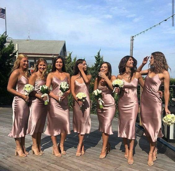 MANY COLORS silk slip bridesmaid dresses for wedding party Silk bias satin slip dress for for three five seven girls prom slip 90s midi slip