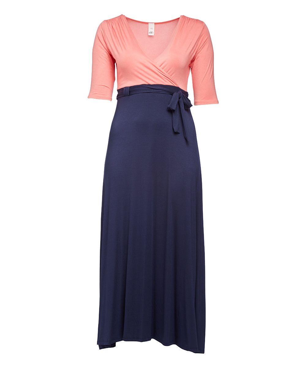 Navy u coral tiewaist surplice maxi dress plus products