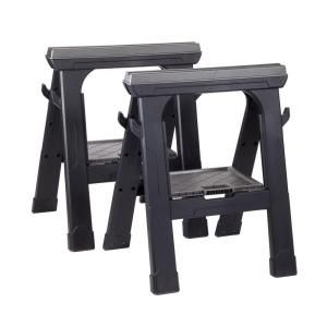 Peachy Husky Heavy Duty 27 3 In Folding Sawhorse 2 Pack Tools Caraccident5 Cool Chair Designs And Ideas Caraccident5Info