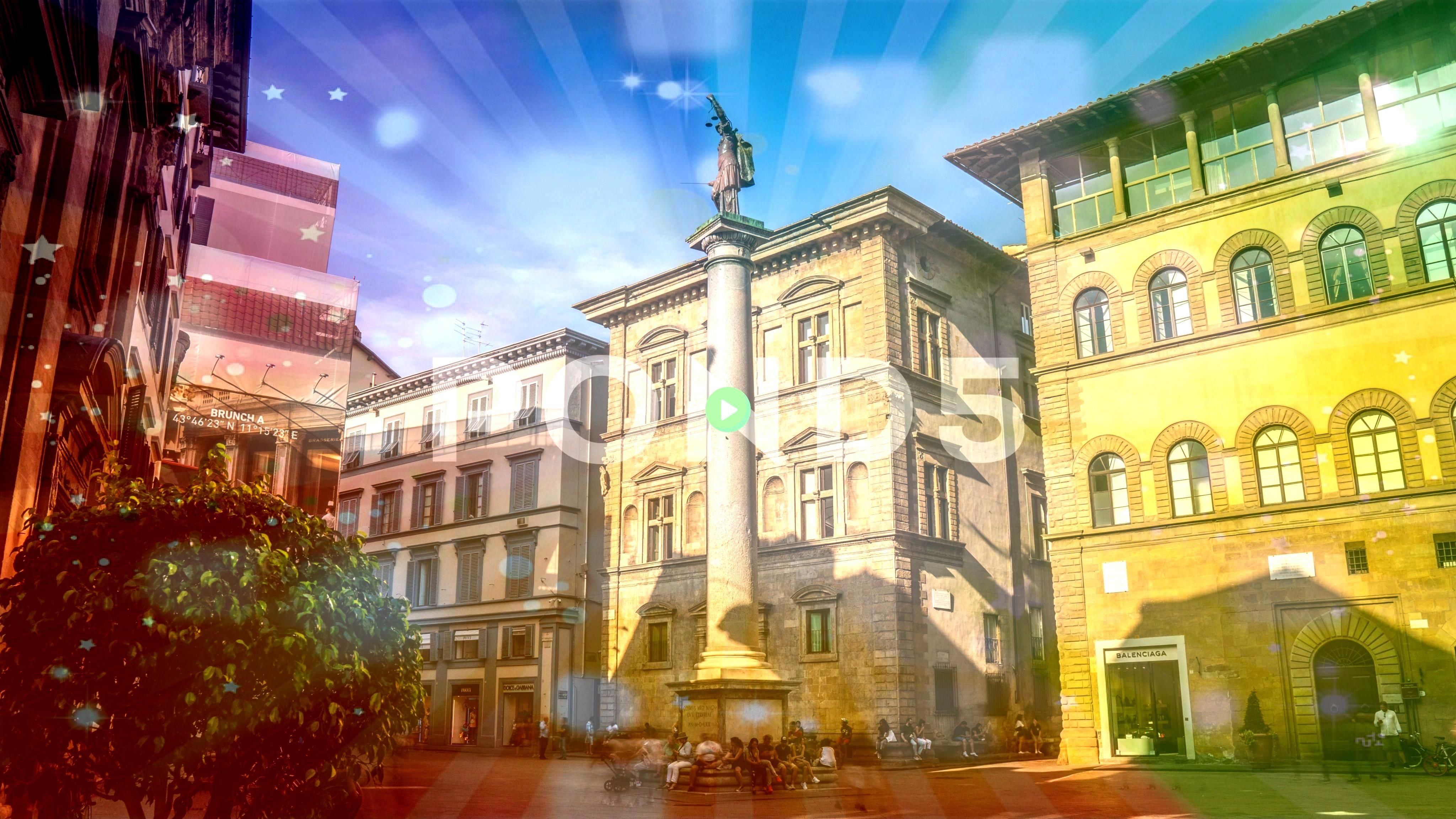 Florence People by the Column of Justice in Piazza Santa Trinita Stock Footage ColumnJusticePeopleItalyItaly Florence People by the Column of Justice in Piazza Santa Trin...