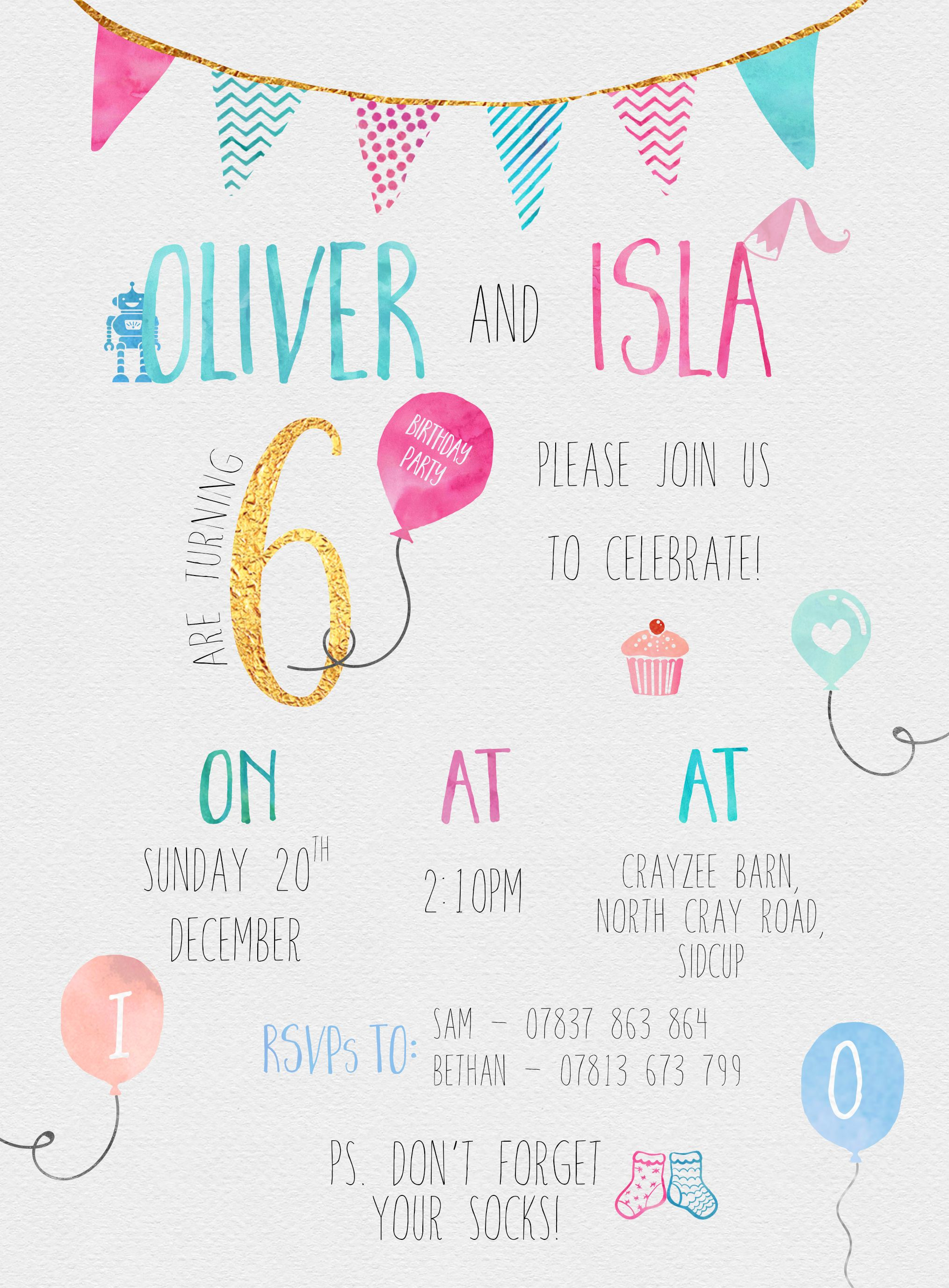 kids 6th birthday party invitation for