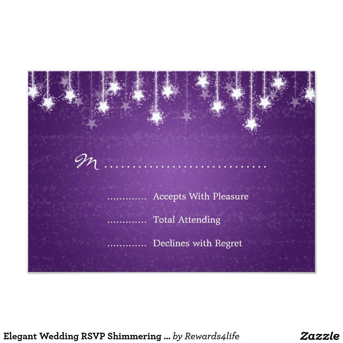proper response time for wedding rsvp%0A Elegant Wedding RSVP Shimmering Stars Purple       X     Invitation Card