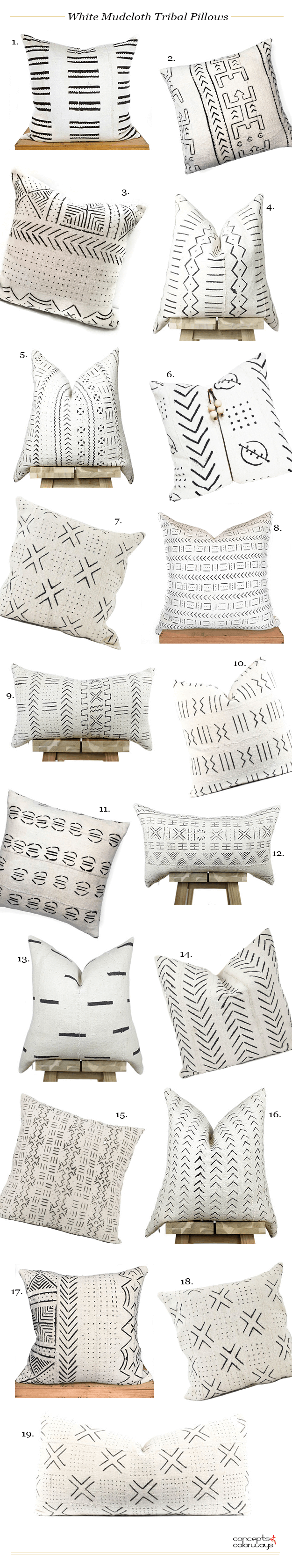 White mudcloth tribal pillows modern pillows and modern house design