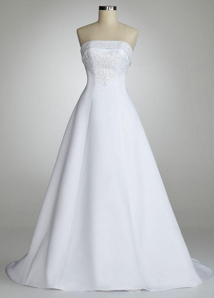 David S Bridal Wedding Dress Strapless A Line Gown With Split Back Style U3378 White 0 Davids Bridal Wedding Dresses Bridal Gowns Bridal Wedding Dresses