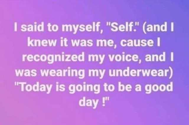 Dopl3r Com Memes I Said To Myself Self And I Knew It Was Me Cause I Recognized My Voice Andi Was Wearing My Underwea In 2020 Funny Quotes Sayings I